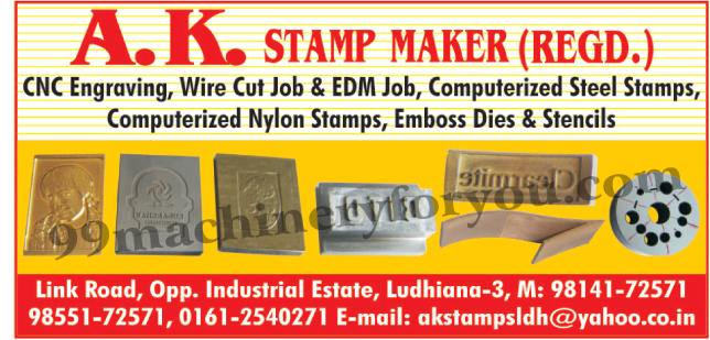 CNC Engraving, Wire Cut Job, EDM Job, Computerised Steel Stamps, Computerised Nylon Stamps, Emboss Dies, Emboss Stencils,Wire Gut Jobs