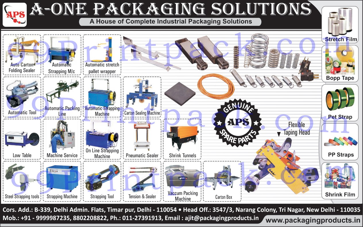 Auto Carton Folding Sealer, Automatic Strapping Machine, Automatic Stretch Pallet Wrapper, Stretch Film, Bopp Tapes, Pet Straps,  PP Straps, Shrink Films, Automatic Packaging Line, Carton Sealing Machines, On Line Strapping Machines, Pneumatic Sealer, Shrink Tunnels, Steel Strapping Tools, Strapping Machines, Strapping Tools, Vacuum Packing Machines,Automatic Tool, Automatic Packing Line, Low Table, Machine Service, Tension, Sealer, Carton Box, Flexible Taping Head, Packaging Solution, Packaging Machine, Sealing Machine, Stretch Pallet Wrapper