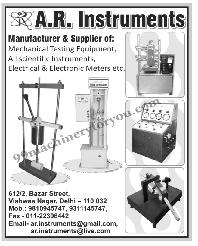 Mechanical Testing Equipments, Scientific Instruments, Electrical Meters, Electronic Meters,Meters, Scientific Equipment