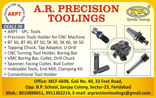 Precision Tool Holder For CNC Machines, Tapping Chucks, Tap Adapters, U Drills, CNC Turning Tool Holders, Boring Bars, VMC Boring Bars, Collets, Drill Chucks, Spanners, Facing Cutters, Bull Cutters, Indexable Tools, End Mills, Clamping Kits, Conventional Tool Holders