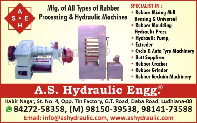 Rubber Processing Machines, Hydraulic Machines, Rubber Mixing Mills, Rubber Moulding Hydraulic Presses, Hydraulic Pumps, Rubber Extruder Machines, Cycle Tyre Machines, Cycle Tyre Machinery, Auto Tyre Machines, Auto Tyre Machinery, Butt Supplizers, Rubber Crackers, Rubber Grinders, Rubber Reclaim Machines, Rubber Reclaim Machinery, Bearing Type Rubber Mixing Mill, Universal Type Rubber Mixing Mill, Rubber Mixing Mill, Hydraulic Press, Tyre Tube Plant, Auto Tyre Tube Plant, Cycle Tyre Tube Machine, Rubber Moulding Machine, Rubber Grinding Machine, Plywood Hot Hydraulic Press, Plywood Cold Hydraulic Press, Mica Pest Hydraulic Press, Rubber Extruder, Rubber Strainer