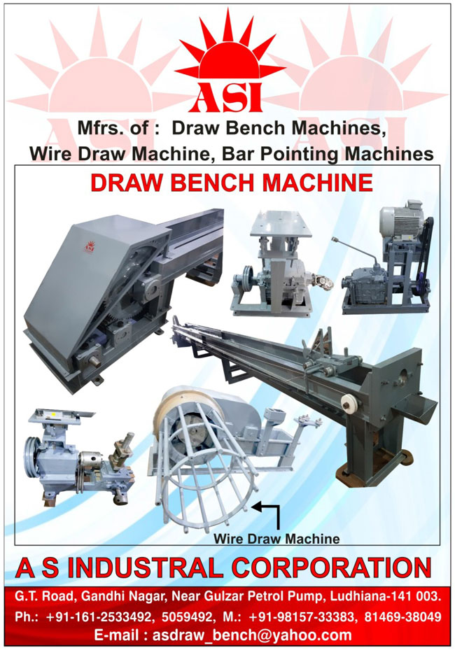 Bar Pointing Machine, Draw Bench Machine, Power Press, Straightening Machine, Round Bar Straightening Machines, Wire Drawing Horizontal Type Machines, C Type Power Presses