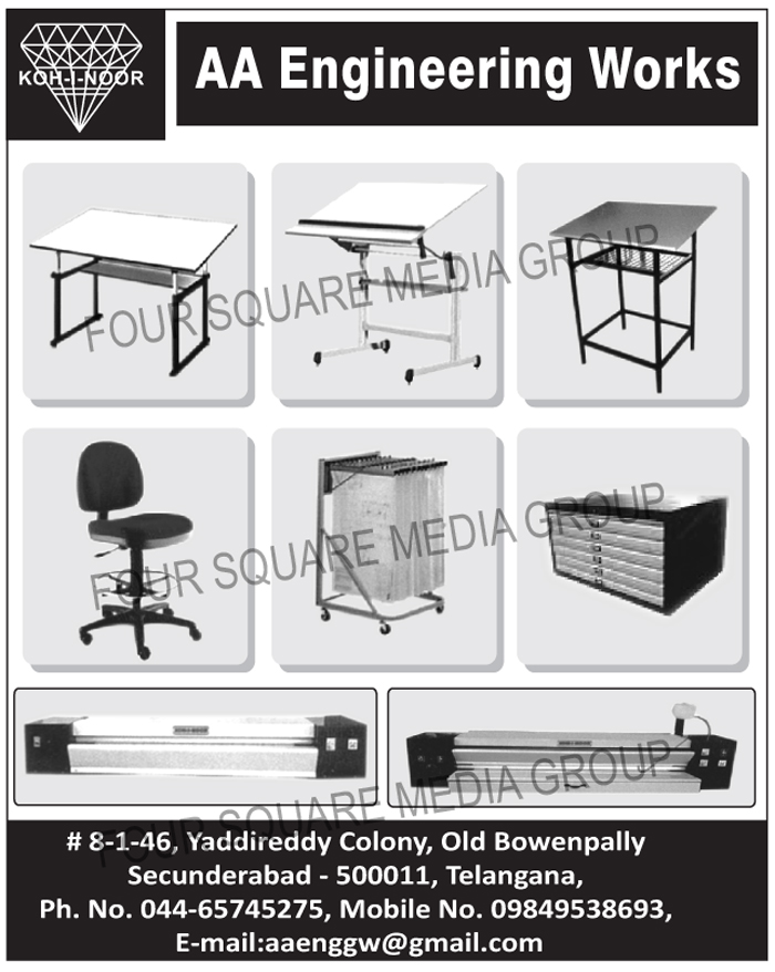 Drawing Office Equipments, Drafting Tables, Drafting Stands, Ammonia Printing Machines, Lateral Filing Cabinets, Drawing Hangers