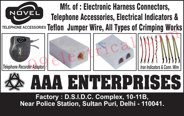 Electronic Harness Connectors, Telephone accessories, Electrical Indicators, Teflon Jumper Wire, Crimping Works, Telephone Recorder Adaptor, Iron Indicators, Connecting Wires,Electrical Products, Electrical Accessories, Electrical Parts, Indicators, Jumper Wire, Telephone Accessories, Iron Indicators Wire, Iron Connection Wires