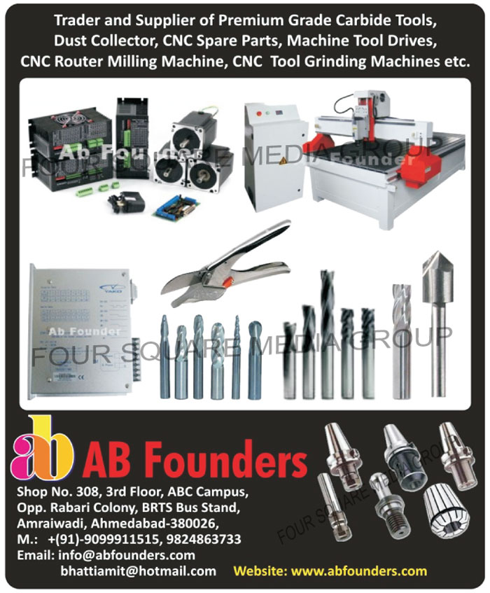 Carbide Tools, Dust Collectors, CNC Spare Parts, Machine Tool Drives, CNC Router Milling Machines, CNC Tool Grinding Machines