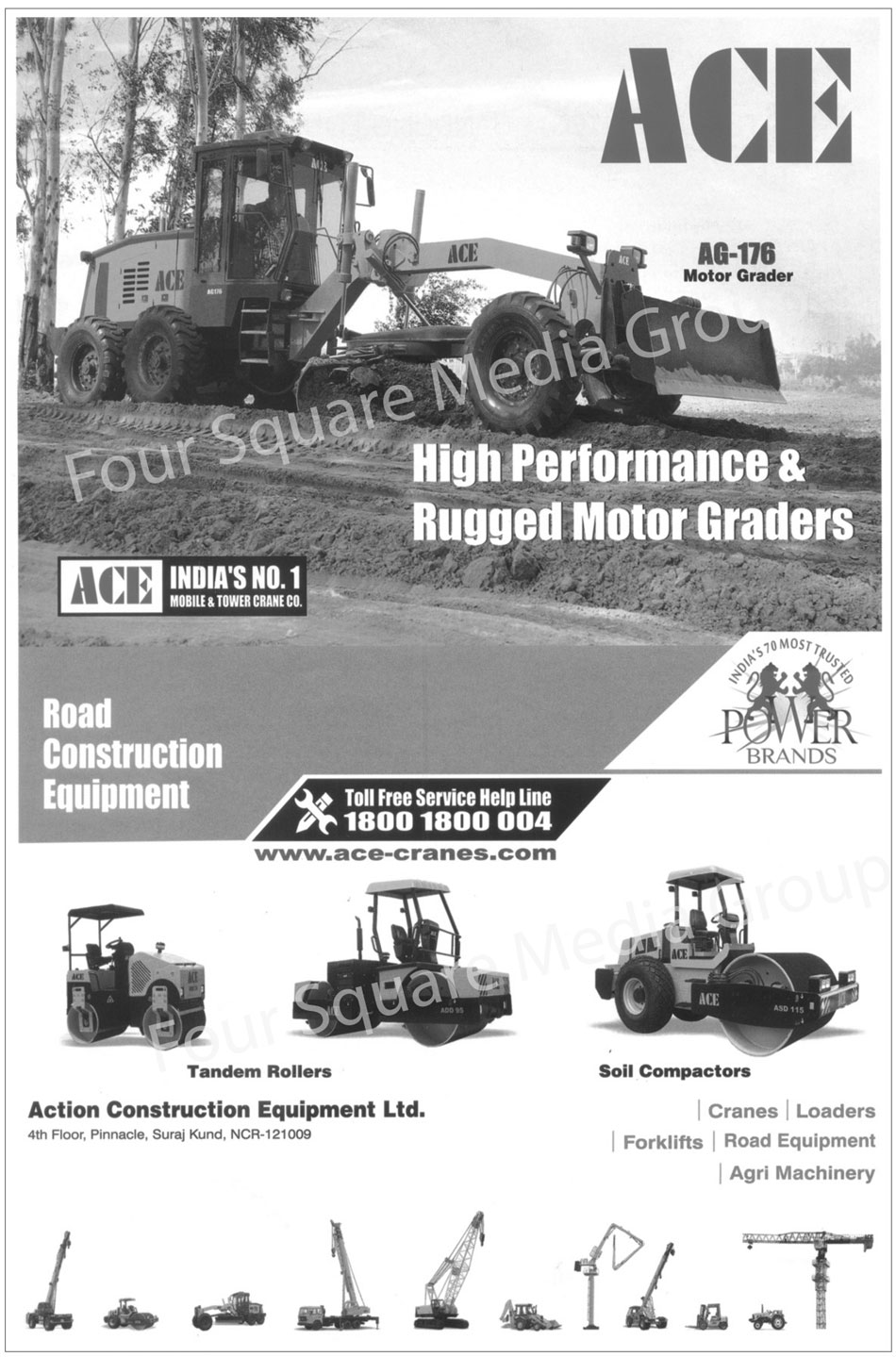 Road Construction Equipments, Tandem Rollers, Soil Compactors, Cranes, Loaders, Forklifts, Road Equipments, Agri Machinery