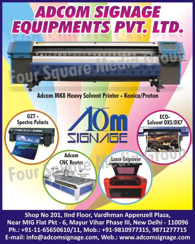 Solvent Printers, Laser Engravers, CNC Routers, Spectra Polaris,Printers