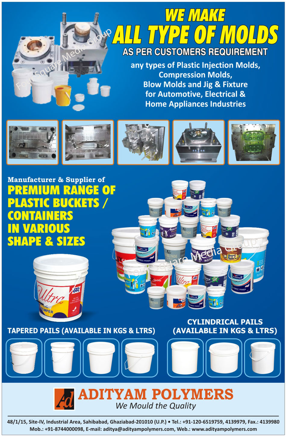 Plastic Buckets, Plastic Containers, Cylindrical Pails, Tapered Pails, Plastic Container, Plastic Moulds, Plastic Molds