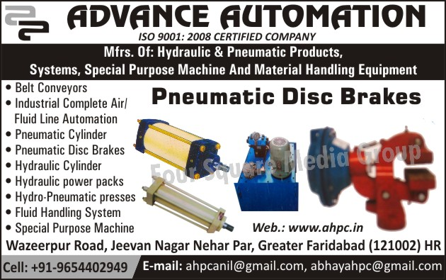 Hydraulic Products, Pneumatic Products, Special Purpose Machines, SPM, Material Handling Equipments, Pneumatic Disc Brakes, Belt Conveyors, Pneumatic Cylinders, Hydraulic Cylinders, Hydraulic Power Packs, Hydro Pneumatic Presses, Fluid Handling Systems, Industrial Air Line Automation, Industrial Fluid Line Automation