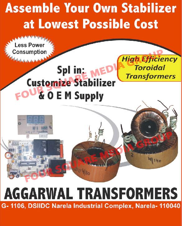 Customized Stabilizers, Toroidal Transformers,Stabilizer, Automatic Voltage Stabilizer, AC Voltage Stabilizer, Voltage Stabilizer, Isolation Transformers, Air Conditioner Toroidal Transformer