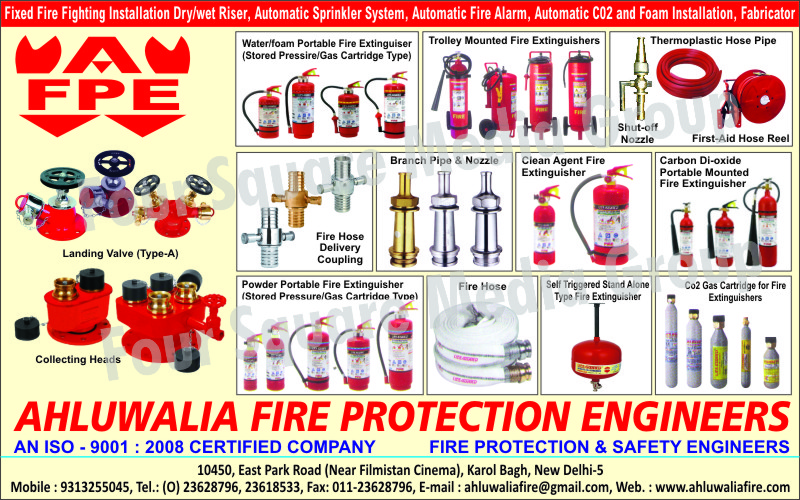 Automatic Sprinkler Systems, Automatic Fire Alarms, Automatic CO2 Installation, Automatic Foam Installation, Thermoplastic Hose Pipes, Shut Off Nozzles, First Aid Hose Reel, Trolley Mounted Fire Extinguishers, Branch Pipes, Branch Nozzles, Fire Hose Delivery Coupling, Clean Agent Fire Extinguishers, Carbon Dioxide Portable Mounted Fire Extinguishers, Powder Portable Fire Extinguishers, Fire Hoses, Fire Extinguisher CO2 Gas Cartridges, Self Triggered Stand Alone Type Fire Extinguishers, Portable Fire Extinguishers, Fire Fighting Installation, Fire Hydrant Landing Valves, Fire Safety Products