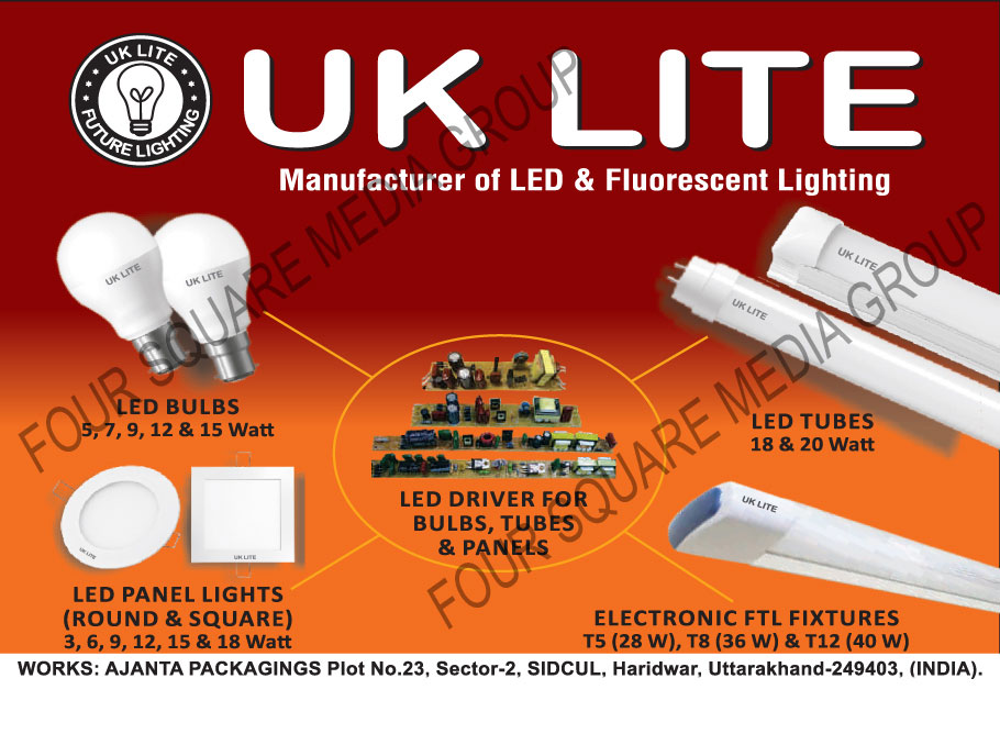 Electronic Ballasts, Led Drivers, Led Lamps, Light Fixtures, Led Lights, Round Led panel Lights, Square Led Panel Lights, Led Tube Lights, Led Bulbs, Electronic FTL Fixtures, Lighting Fixtures
