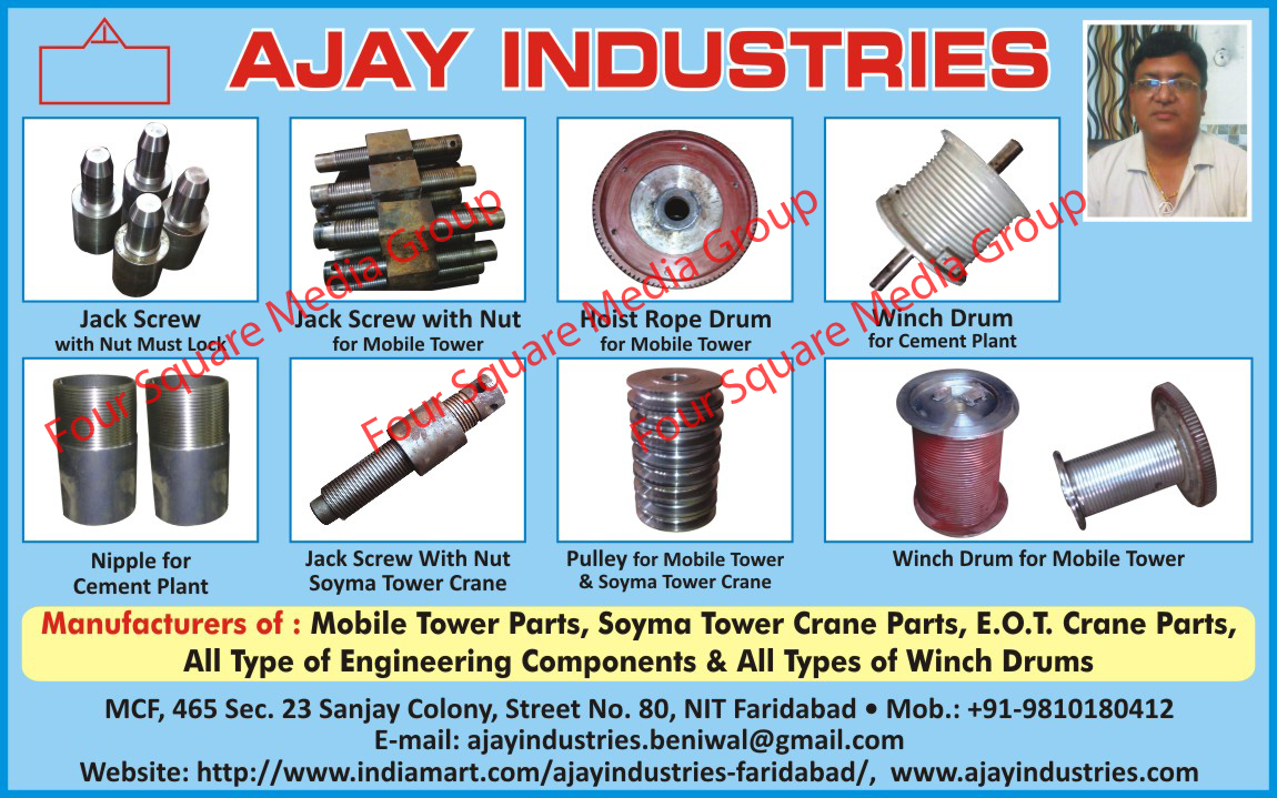 Jack Screw With Nut Must Locks, Jack Screw With Nut For Mobile Towers, Hoist Rope Drum For Mobile Tower, Winch Drum For Cement Plants, Nipple For Cement Plants, Jack Screw With Nut Soyma Tower Crane, Pulley For Mobile Towers, Soyma Tower Cranes, Winch Drum For Mobile Towers