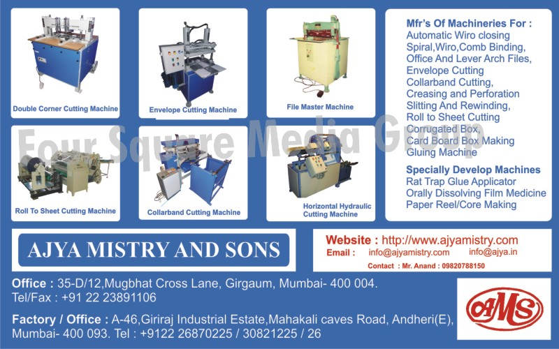 Double Corner Cutting Machine, Envelope Cutting Machines, File Master Machines, Roll to Sheet Cutting Machines, Collar Band Cutting Machines, Horizontal Hydraulic Cutting Machines