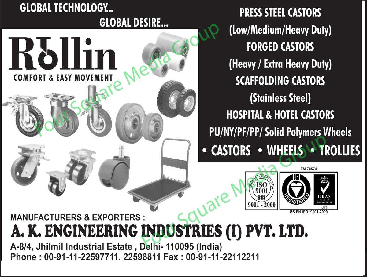 Press Steel Castors, Forged Castors, Scaffolding Castors, Hotel Castors, Hospital Castors, Trollies, Wheels, Castors, Polymer Wheels