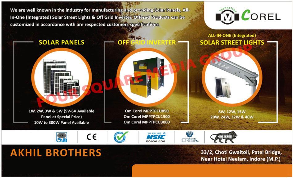 Solar Panels, Integrated Solar Street Lights, Off Grid Inverters, Solar Street Lights, Inverters