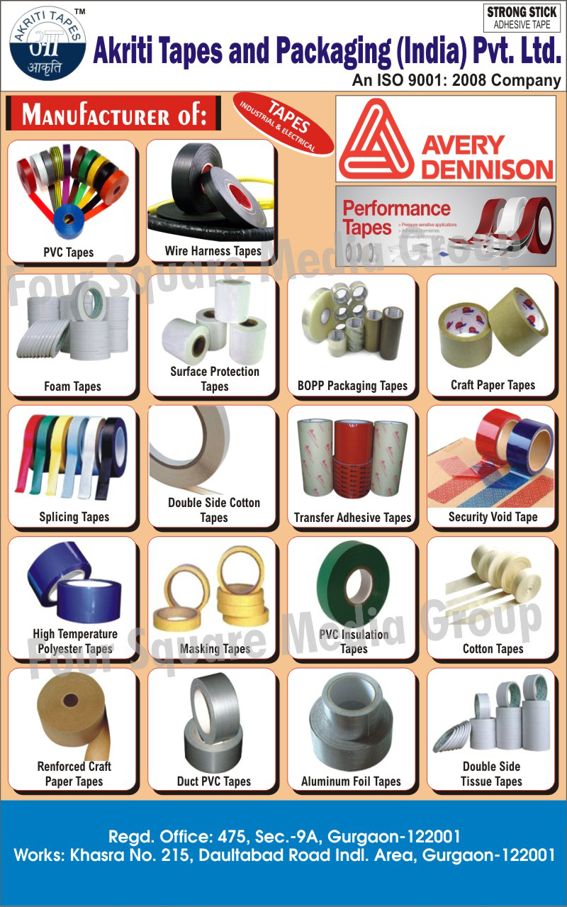 Tapes, Duct PVC Tapes, Aluminium Foil tapes, Stationary Tapes, Craft Paper Tapes, Bag Sealing Tapes, Self Adhesives Tapes, Packaging Bopp Tapes, BOPP Packaging Tapes, Foam Tapes, Polyester Tapes, Masking Tapes, Double Side Tissue Tapes, PVC Insulation Tapes, Cotton Tapes, Double Side Cotton Tapes, Splicing Tapes, Surface Protection Tapes, Reinforced Craft Paper Tapes, Transfer Adhesive tapes, Security Void tapes, Wire Harness Tapes, High Temperature Polyester Tapes, Industrial Tapes, Electrical Tapes, Nylon Tapes, Paper Tapes, Pilproof Tapes, Strapping Dispensers, Pneumatic Steel Strapping Machines, Electrical Insulation Tapes, Portable Packaging Machines, BOPP Self Adhesive Tapes, Floor Marking Tapes, Industrial Packaging Materials
