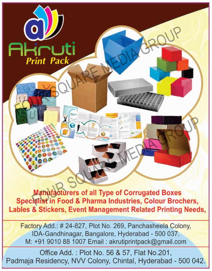 Corrugated Boxes For Food Industry, Corrugated Boxes For Pharma Industry, Colour Brochers Printing Services, Color Brochers Printing Services, Label Printing Services,  Sticker Printing Services, Event Management Related Printing Services, Leaflet Printing Services, Insert Printing Services, Food Product Boxes, Pharma Product Boxes
