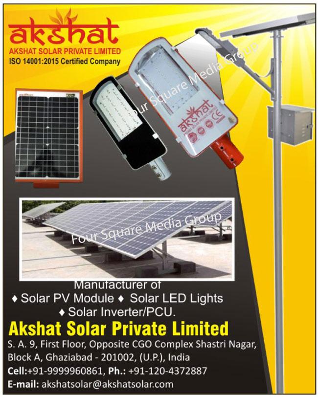 Solar PV Modules, Solar Led Lights, Solar Inverter, Solar PCU, Solar Products