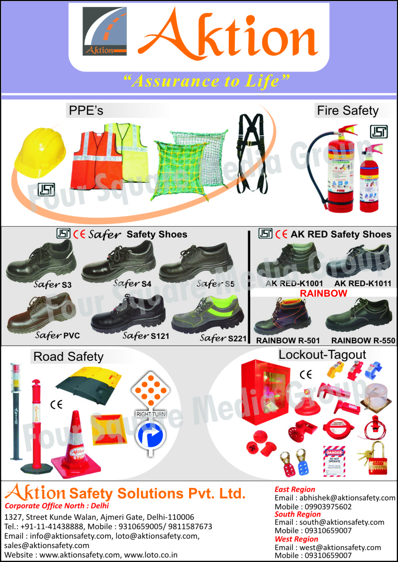 Safety Jackets, Safety Shoes, Fire Safety Equipments, Road Safety Products, Road Safety Cones, Spring Posts, Speed Bumps, Safety Helmets, Safety Belts, Safety Nets, Personal Protective Equipments, Lockouts, Tagouts, Safety Products, Fire Safety Products, Fire Extinguishers