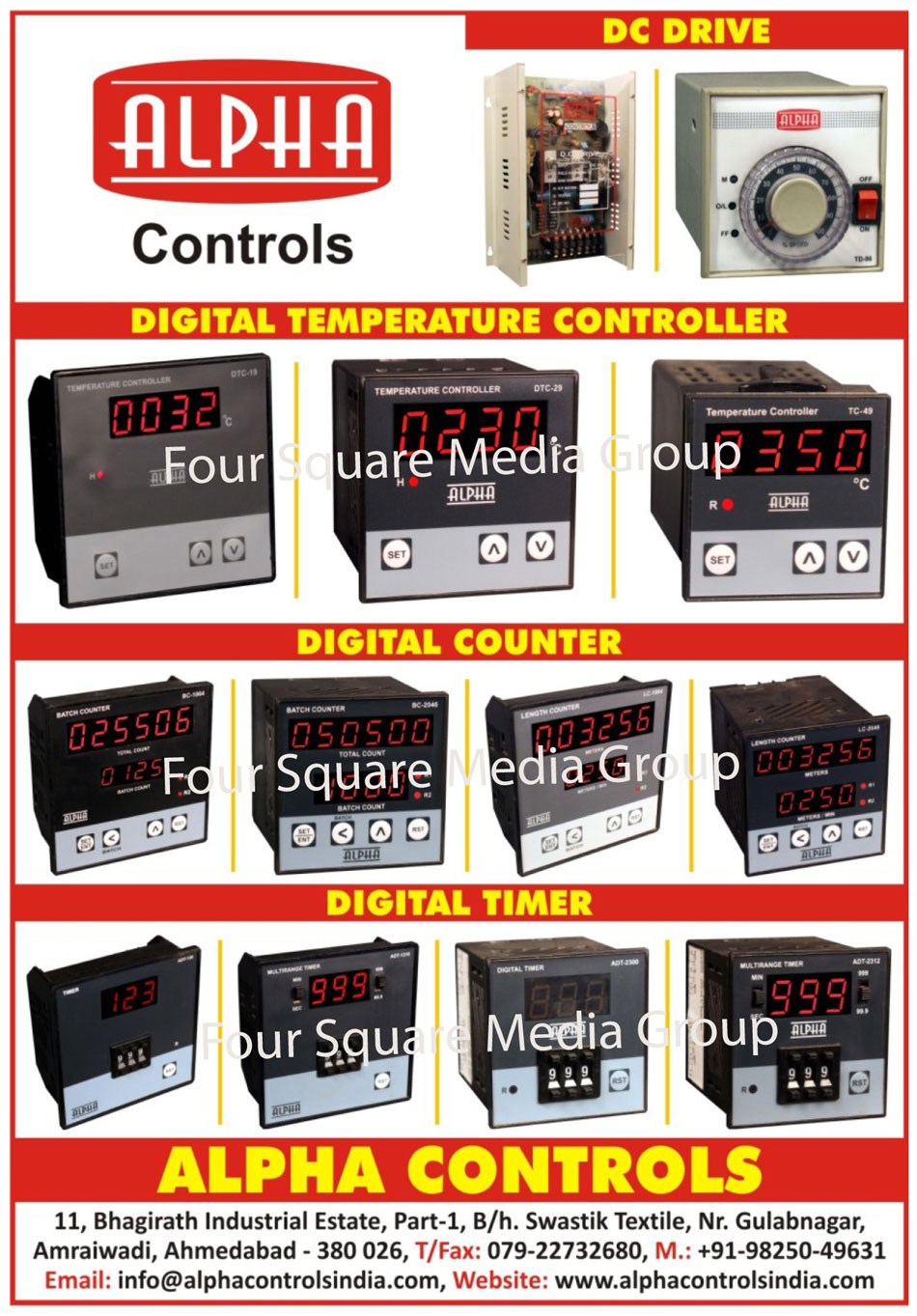 DC Drivers, Digital Temperature Controllers, Digital Counters, Digital Timers, DC Drives