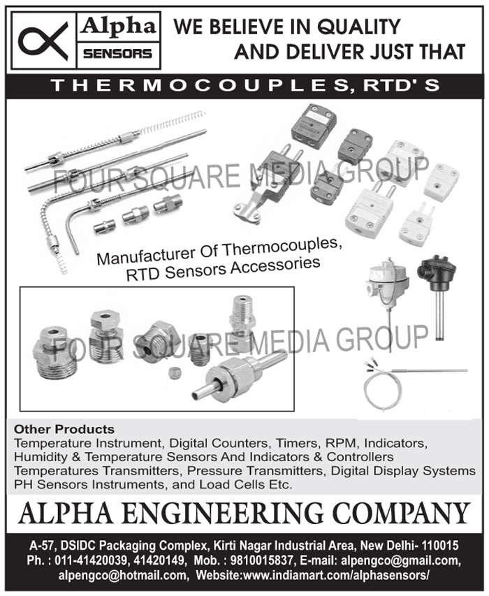 Thermocouples, RTD Sensor Accessories, Temperature Instruments, Digital Counters, Timers, RPM, Indicators, Humidity Sensors, Temperature Sensors, Humidity Indicators, Temperature Indicators, Humidity Controllers, Temperature Controllers, Temperature Transmitters, Pressure Transmitters, Digital Display Systems, PH Sensor Instruments, Load Cells