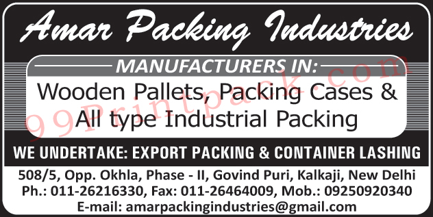 Wooden Pallets, Packing Cases, Industrial Packing,Lashing Belts, Steel Pallets, Polyester Lashing Belt, Iron Pallets, Dunnage Air Bags, Polywood Boxes, Wooden Crates, Waterproof Plywood Boxes, Plywood Boxes, Industrial Dunnage Bags, PVC Dunnage Bags, Wooden Boxes, Light Weight Wooden Boxes, Wooden Boxes