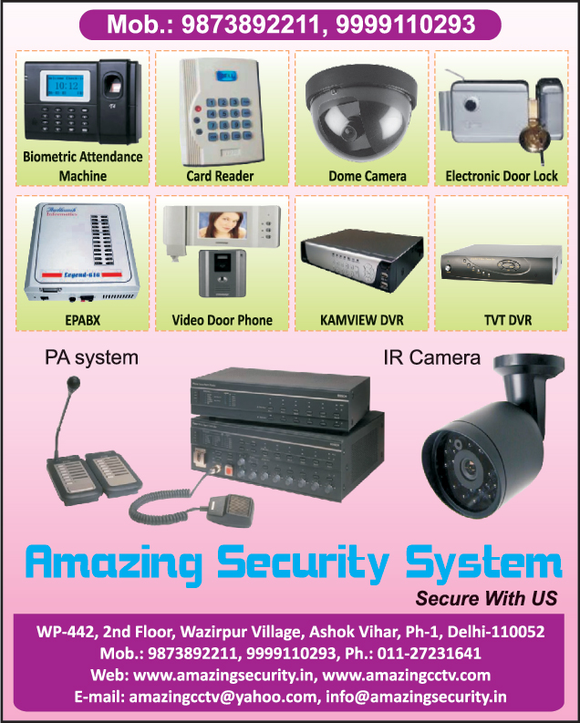 Biometric Attendance Machines, Card Readers, Dome Cameras, Electronic Door Locks, EPABX, Video Door Phones, Kamview DVR, TVT DVR, Kamview Digital Video Recorders, TVT Digital video Recorders,Ir Camera, Camera, Cctv, Pa Systems, Kamview Dvr, Kamview Digital Video Recorders