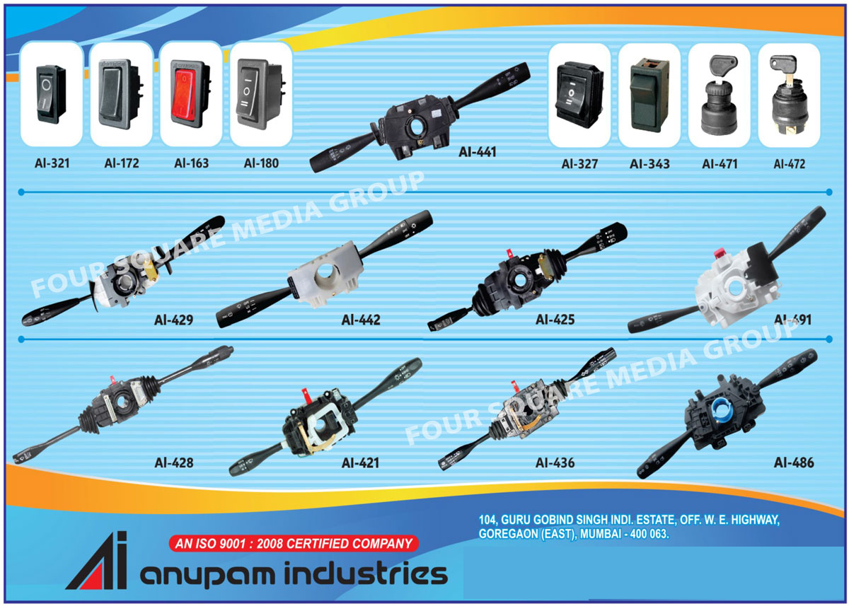 Automotive Combination Switches, Automotive Components, Combination Switches, Hazard Warning Switch, Head Lamp Levelling Switch, Rocker Switches, Multi Function Wiper Switch, Fuse Box, Main Line Switch, Starter, Push Button Switch, Automotive Switches