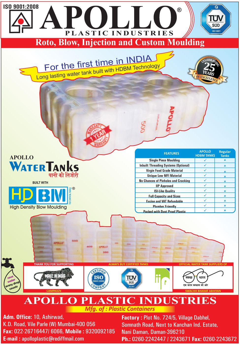 Plastic Containers, HDBM Tanks, High Density Blow Moulding Tanks, High Density Blow Molding Tanks
