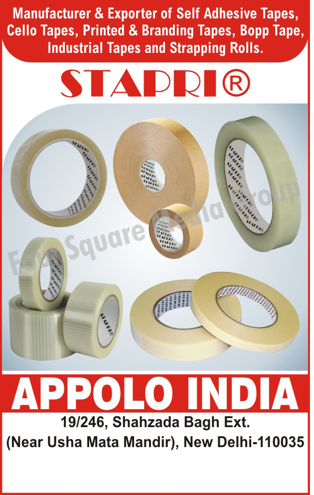 Self Adhesive Tapes, Cello Tapes, Printed Tapes, Branding Tapes, BOPP Tapes, Industrial Tapes, Strapping Tapes, Strapping Rolls