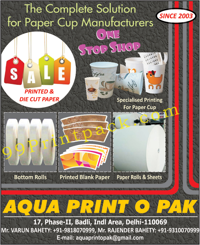 Printed Papers for Paper Cups, Die Cut Papers for Paper Cups, Printing For Paper Cups, Bottom Rolls for Paper Cups, Printed Paper for Paper Cups, Blank Papers for Paper cups, Paper Rolls for Paper Cups, Paper Sheets for Paper Cups,Paper Cup, Bottom Rolls, Printed Blank Paper, Paper Rolls, Paper Sheets, Tissue Paper, Paper Cup Machine, Paper Coating, Printing Press, Matchboxes, Paper Cup Raw Material
