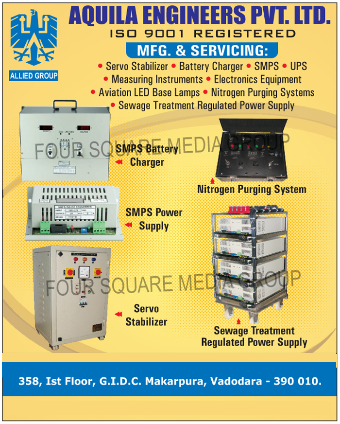 Servo Stabilizers, Battery Chargers, SMPS, UPS, Measuring Instruments, Electronic Equipments, Aviation Led Base Lamps, Nitrogen Purging Systems, Sewage Treatment Regulated Power Supply, Sewage Treatment Regulated Power Supplies, SMPS Battery Chargers, SMPS Power Supply, SMPS Power Supplies