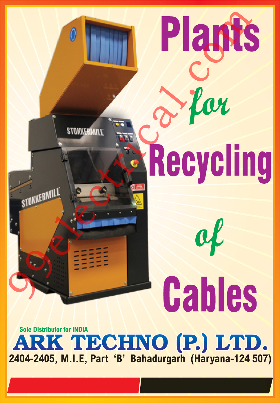 Cable Recycling Plants, Warning Triangles, Reflex Reflectors, Plastic Moulded Parts,Cables Recycling