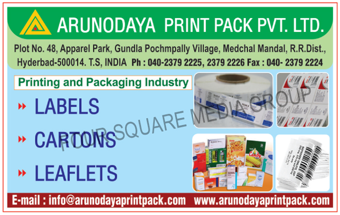 Labels, Cartons, Leaflets