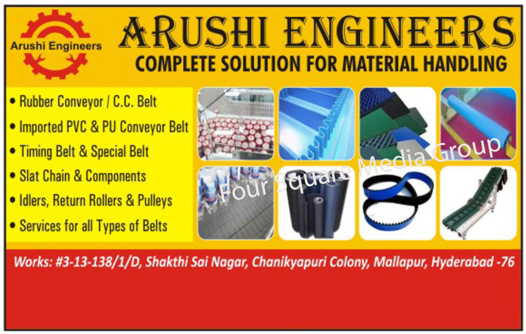 Material Handling Solutions, Rubber Conveyors, CC Belts, PVC Conveyor Belts, PU Conveyor Belts, Timing Belts, Slat Chains, Slat Components, Idler Rollers, Return Rollers, Pulleys, Belt Services, Conveyor Components, Plastic Slat Chains, PVC PU Conveyor Belts, PVC Conveyor Belts, Thread Mill Belts, Stainless Steel SS Alloy Chains, Timer Belts, Special Purpose Belts ,