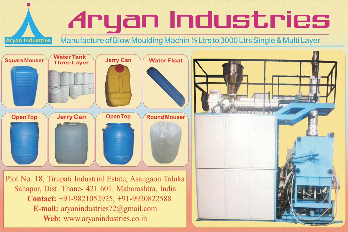 Blow Moulding Machines,Jerry Can, Square Mouser, Water Tank, Water Float, Round Mouser, Open Top
