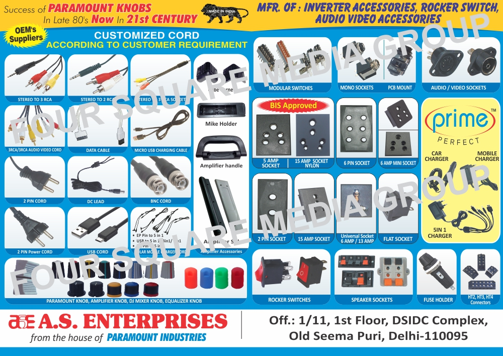 Inverter Accessories, Rocker Switches, Audio Video Switches, Mobile Leads, EP Leads, Audio Leads, Data Cables, Solar Panel Cords, DC Leads, Solar Mobile Charger Cords, Lantern Adapters, Adapters, Set Top Box Adapters, Fuse Holders, Speaker Switches, Modular Switches, Mono Sockets, Audio Switches, Video Switches, Five AMP Sockets, Six Pin Sockets, Two Pin Sockets, Fifteen AMP Sockets, Five AMP Mini Sockets, Flat Sockets, Adapters, Car Charger, Mobile Charger, Audio Accessories, Video Accessories, Moulded Connector Lead, AMP Socket, Socket, Pushable Shocket, Switches, CFL Holder, Solar Lantern Charger, Five AMP Mini Sockets, 5 AMP Sockets, 6 Pin Sockets, 2 Pin Sockets, 15 AMP Sockets, 5 AMP Mini Sockets, Flat Sockets, Adapters, Car Chargers, Mobile Chargers, 5 In 1 Chargers, Five In One Chargers, Speaker Sockets, Audio Sockets, Video Sockets, PCB Mounts, Audio Video Cord For Set Up Boxes, Paramount Knobs, Amplifier Knobs, DJ Mixer Knobs, Equalizer Knobs, 2 Pin Power Cords, Two Pin Power Cords, 2 Pin Cords, Two Pin Cords, Solar Lantern Chargers, Audio Video Accessories, EP Pin to 5 in 1, USB to 5 in 1, DC Pin to 5 in 1, Nokia Pin to 5 in 1, USB Cord, Universal Sockets, HT Connectors