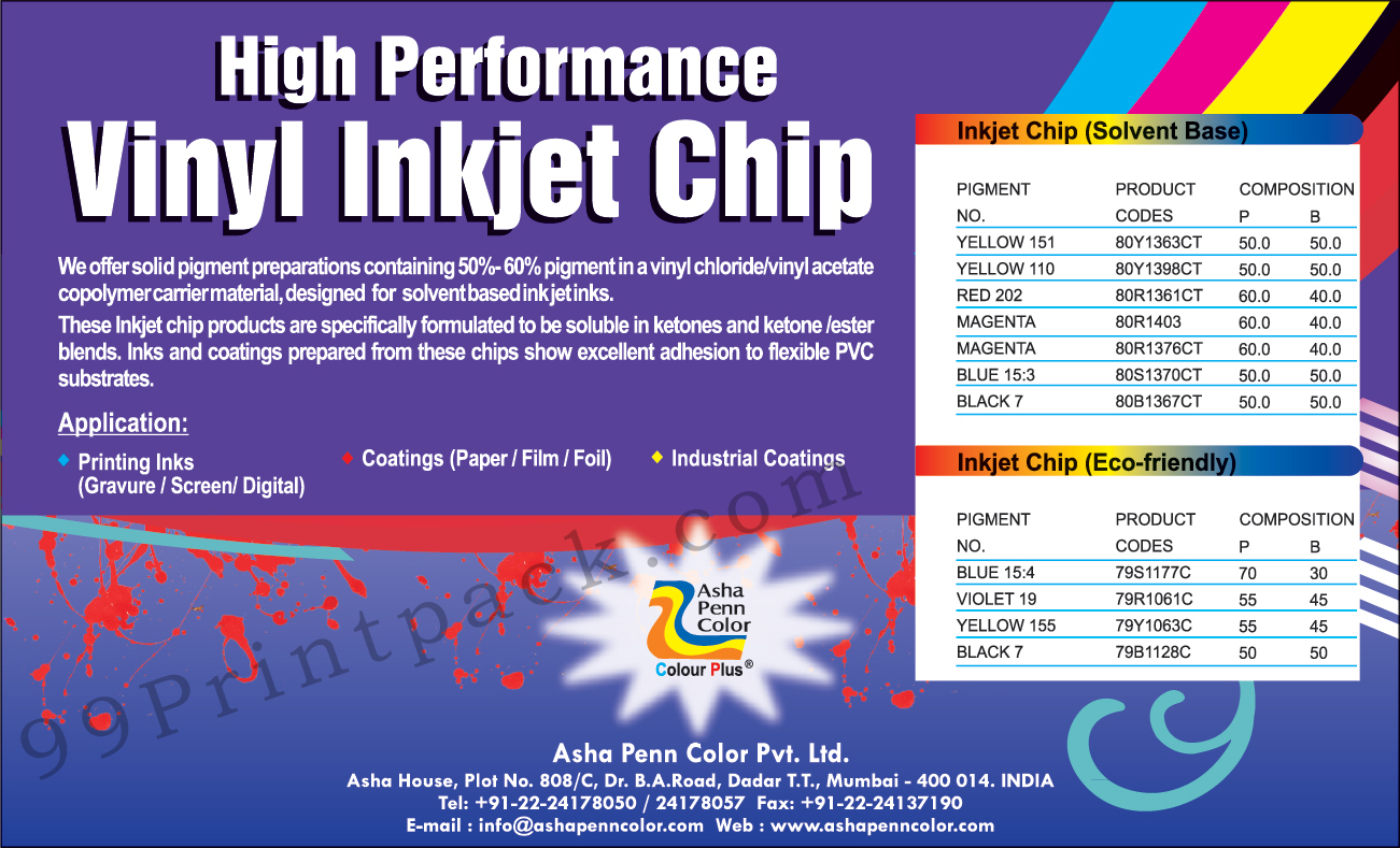 Inkjet Chip, Pigment Dispersions Inks, Pigment Dispersions Coatings, Pigment Dispersions Cosmetics, Pigment Dispersions Leather, Flexible Packaging, Color Dispersions, Color Concentrates, Solvent Base Inkjet Chip, Eco Friendly Inkjet Chip, Inkjet Chip, Colour Concentrates, Colour Dispersions