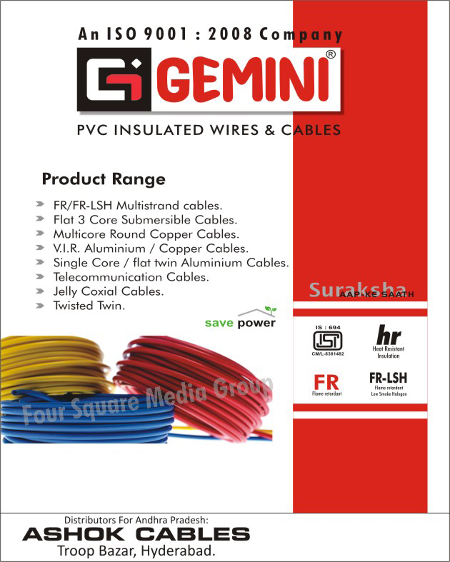 PVC Insulated Wires, PVC Insulated Cables, FR Multistand Cables, FR LSH Multi stand Cables, Flat Three Core Submersible Cables, Multi Core Round Copper Cables, VIR Aluminum Cables, VIR Copper Cables, Single Core Aluminum Cables, Flat Twin Aluminum Cables, Telecommunication Cables, Jelly Coaxial Cables, Twisted Twin Cables,