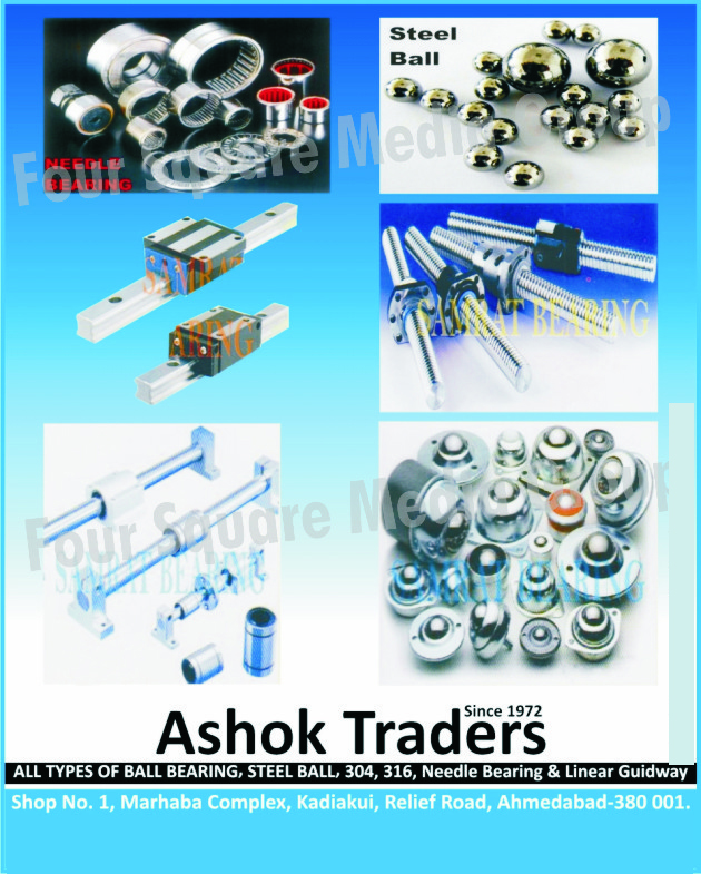 Needle Bearings, Steel Balls, Ball Bearings, Linear Guideway, Shaft Supports, Linear Bearings, Hard Crom Plated Shafts Hardness, Ball Screws, Linear Ball Bushes, Lubricant Bushes, Cam Followers Bearings, Ball Transfers, Steel Balls, Rod End Bearings, Close Housing Units, Linear Bearing End Supports