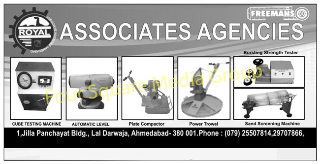 Soil Concrete Testing Instruments, Surveying Instruments, Construction Machines, Cube Test Machines, Land Surveying Instruments, Compression Testing Machine, Cube Testing Machines, Auto Level Machines, Plate Compactors, Power Trowel, Sand Screening Machines, Bursting Strength Testers