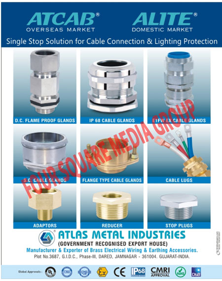 DC Flame Proof Glands, IP Cable Glands, EX Cable Glands, SC Cable Glands, Flange Type Cable Glands, Cable Lugs, Cable Connector Adaptors, Cable Reducer, Cable Stop Plugs, Cable Connectors,Brass Electrical Wiring Accessories, Brass Electrial Earthing Accessories, Electrical Parts, Adaptors, Cable, Glands, Lugs, D.C. Flame Proof Glands, Cable Glands, S.C. Cable Glands, Reducer, Stop Plugs, Electrical Accessories, Lugs
