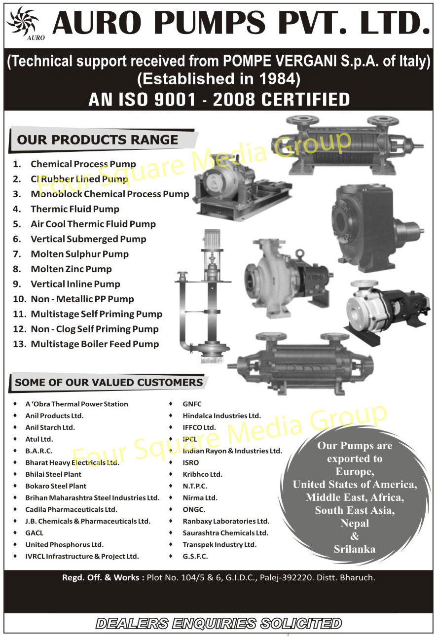 Process Pumps, CI Rubber Lined Pumps, Monoblock Chemical Process Pumps, Thermic Fluid Pumps, Air Cool Thermic Fluid Pumps, Vertical Submerged Pumps, Molten Sulphur Pumps, Molten Zinc Pumps, Non Metallic PP Pumps, Multistage Self Priming Pumps, Non Clog Self Priming Pumps, Multistage Boiler Feed Pumps,Rubber Lined Pump, Fluid Pump, Submerged Pump, Sulphur Pump, Feed Pump, Priming Pump, PP Pump, Zinc Pump
