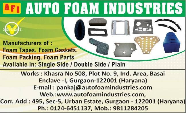 Foam Tapes, Foam Gaskets, Foam Packings, Foam Parts