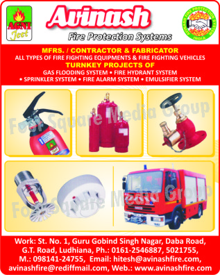 Fire Fighting Equipments, Fire Fighting Vehicles, Gas Flooding Systems, Fire Hydrant Systems, Sprinkler Systems, Fire Alarm Systems, Emulsifier Systems, Fire Safety Products