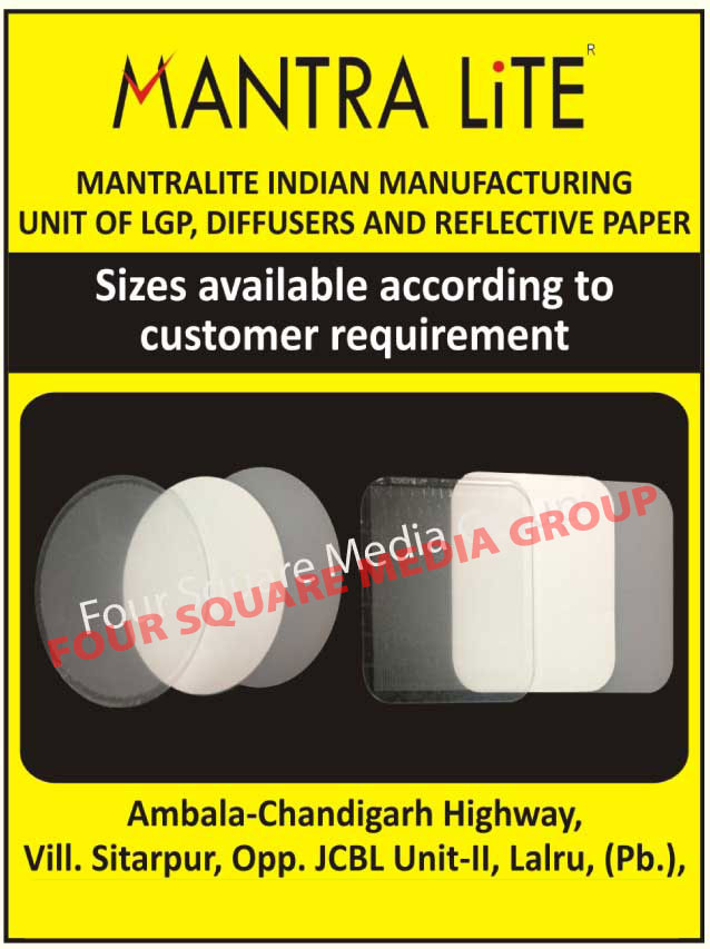 LGP, Light Guide Plates, Light Guide Panels, Diffusers, Reflective Papers