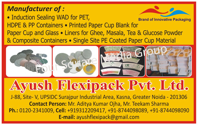 Pet Container Induction Sealing Wad, Hdpe Containers Induction Sealing Wad, PP Containers Induction Sealing Wad, PE Coated Papers, Ghee Carton Liners, Masala Carton Liners, Glucose Powder Carton Liners, Aluminum Foil Based Laminates, Poly Coated Glassion, Poly Coated Poster, Poly Coated Chromo Paper, ORS Glassion four Ply Products, Pharma Glassion four Ply Products, Flavoured Tea Glassion four Ply Products, Single Side PE Coated Paper Cup Material,Induction Sealing Wad, Liners, Aluminum Foil Laminates, Poly Coated Glasses, Poster Papers, Chromo Papers, Printed Paper Cup Blanks, Composite Containers, Tea Carton Liners