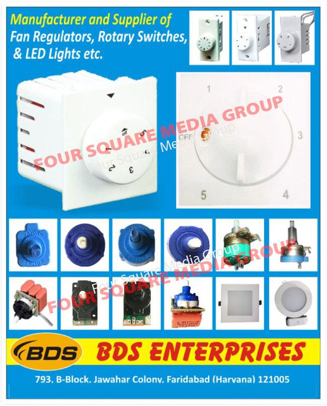 Fan Regulators, Rotary Switches, Led Lights
