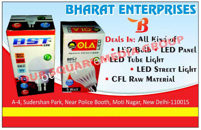 Led Lights, Led Bulbs, Led Panels, Led Panel Lights, Led Tube Lights, Led Street Lights, CFL Raw Materials